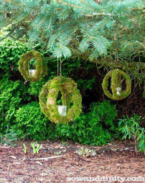 Now I know what to do with all those wooden hoops from my ross stitching days LOVE!! Outdoor Moss Candle Orbs - Sow & Dipity