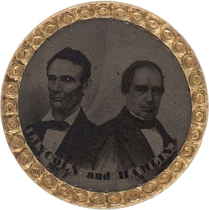 Lincoln & Hamlin: A Scarce 1860 Jugate Ferrotype. Jugates in this style were made for all 1860 tickets, and are important as the first photographic campaign jugates. Overall condition is excellent, with the tintype nicely centered (not always the case). Pin missing on verso.