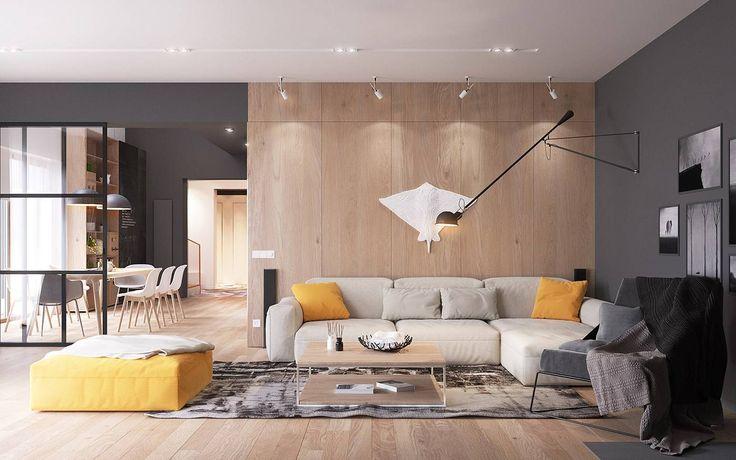 Idea soggiorno scandinavo moderno con accenti di colore giallo in un contesto grigio neutro e rivestimento in legno chiaro