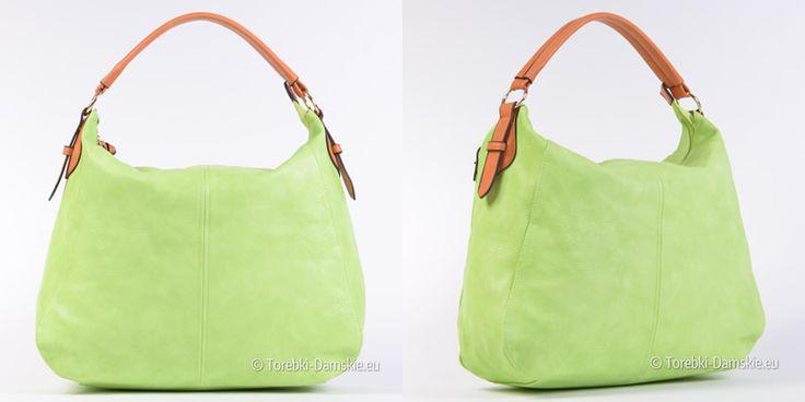 Torebka damska w kolorze limonkowej - jasna efektowna zieleń. Pojemny, mieszczący A4 worek w super cenie #torebki