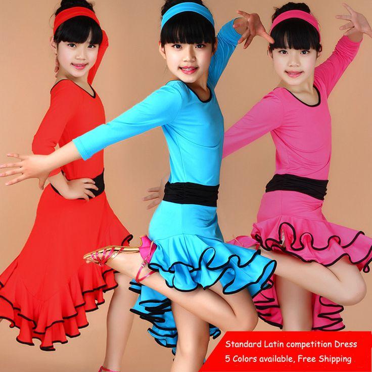 Девушки Дети Длинные Рукава Satandard Латинской Конкурс Платье Дети Современный Танец Бальные Сальса Самба Румба Танго Cha Cha Костюмы купить на AliExpress
