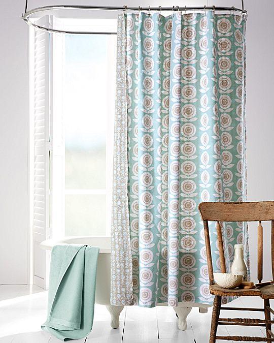 Mina Floral Organic Cotton Reversible Shower Curtain
