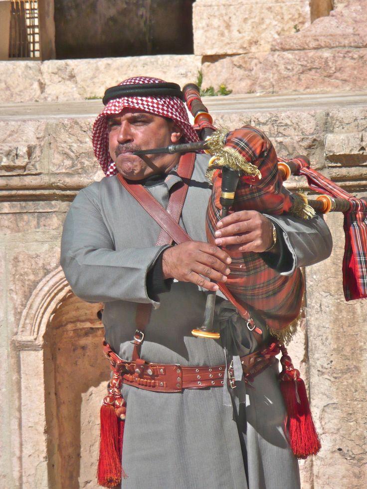 Jordan, Jarash - Bedouin traditional bagpipes musician