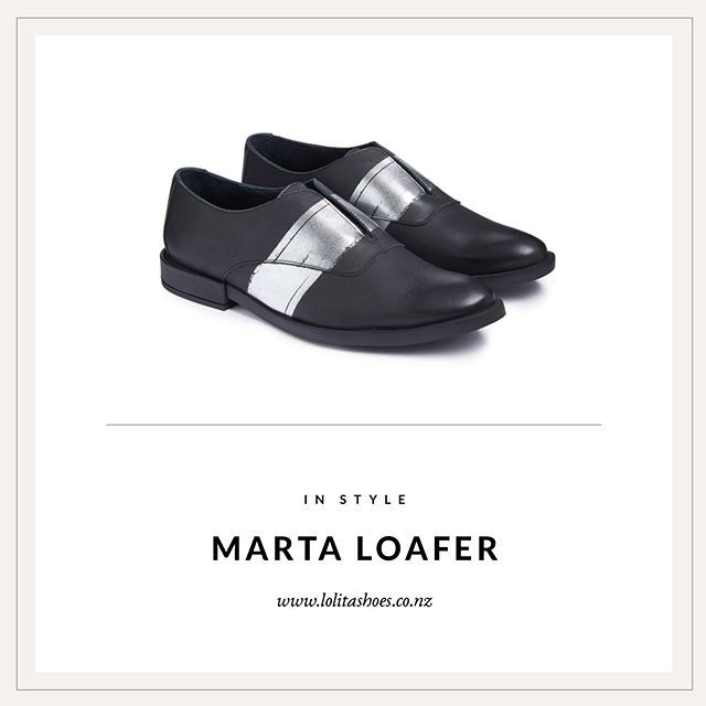 The rogue brogue! Miista's Marta Loafer is slapped with a silver stripe across the soft leather upper, making it beautifully unusual and sophisticated     Shop in store and online #loveshoes #shoes #loafers #silver