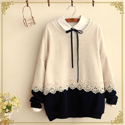 Japanese sweet lace sweatshirts