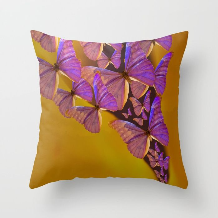 Shiny Purple Butterflies On A Ocher Color Background #decor #society6 Throw Pillow