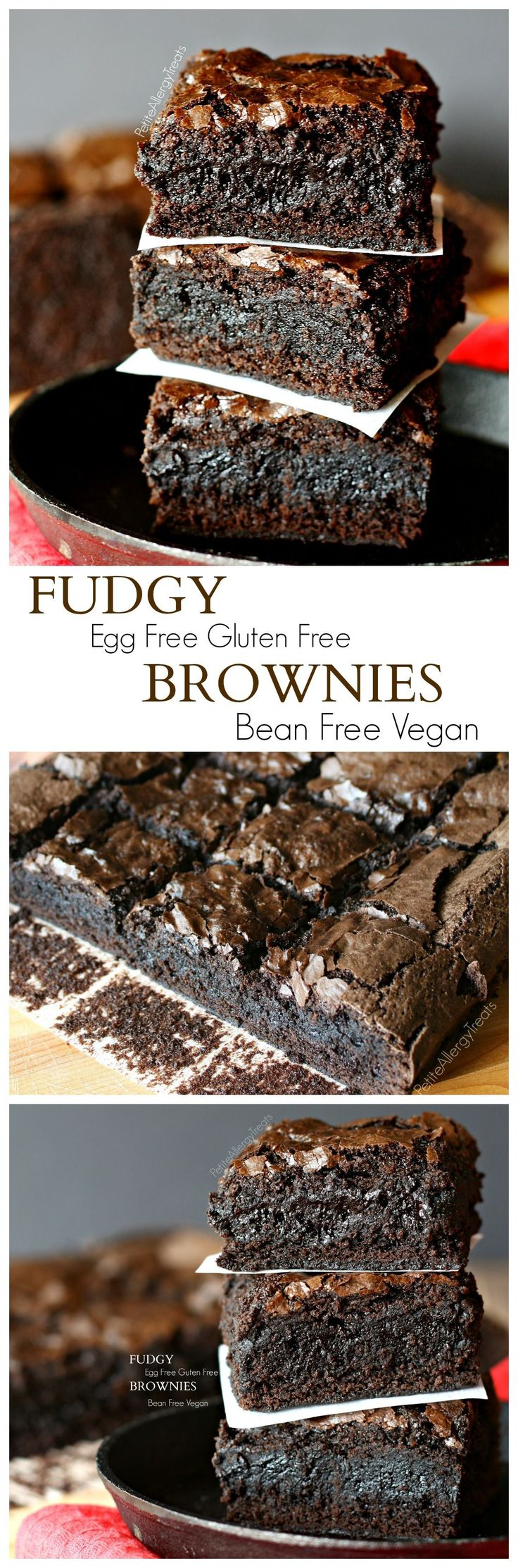 Fudgy Brownies (Gluten free Egg Free No Bean Vegan)- Decadent rich eggless brownie that is super fudgy!