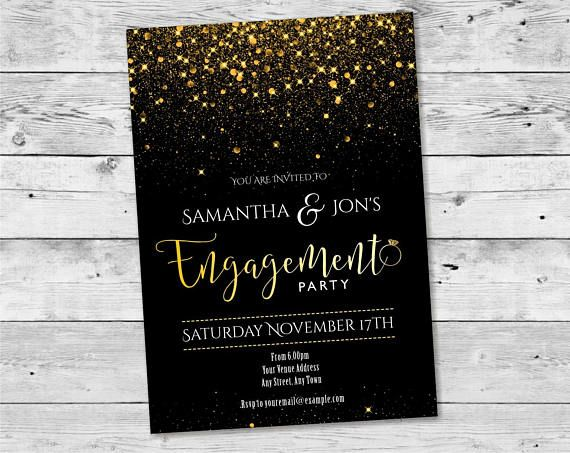 Black and Gold Confetti Engagement Design / Printable