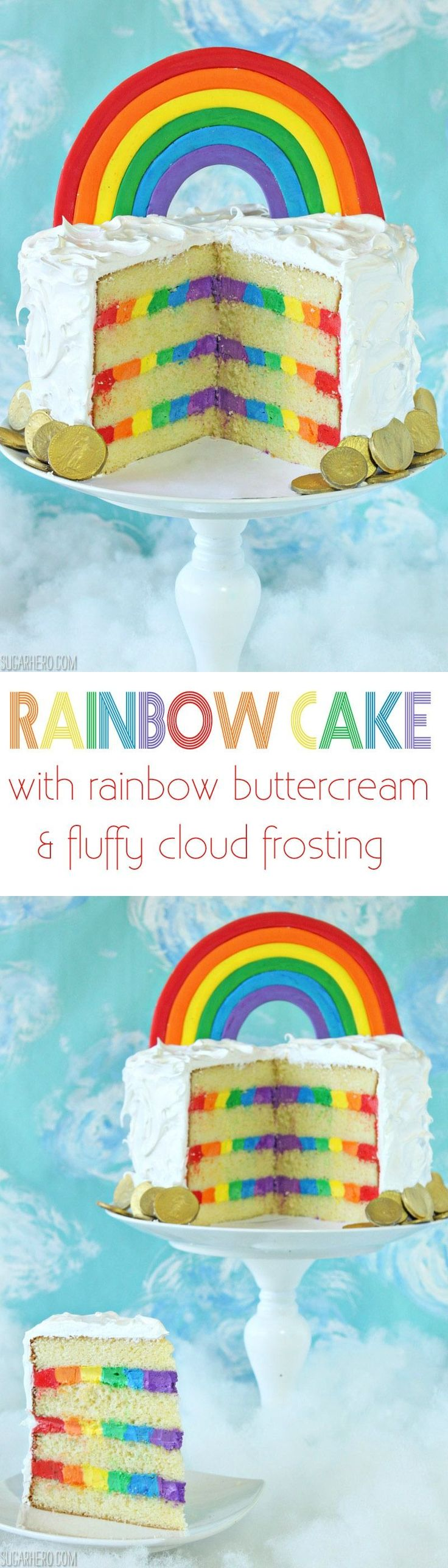 Rainbow in the Clouds Cake - moist yellow cake, fluffy cloud-like meringue, and a hidden frosting rainbow on the inside! | From SugarHero.com