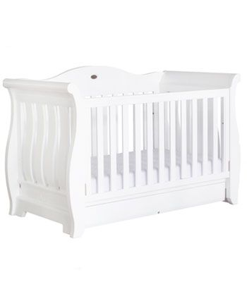Buy your Boori Sleigh Royale Cot Bed - Solid White from Kiddicare Cot Beds Only  Online baby shop   Nursery Equipment