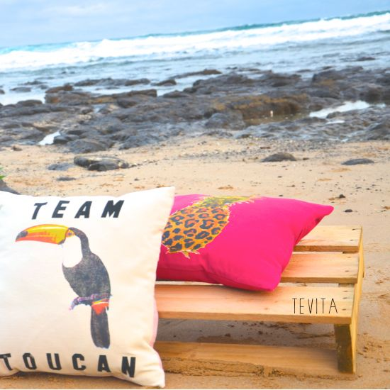 New toucan and pineapple cushions / lifestyle products/ interior homewares decor / beach boho summer style / kids / Made in Bali / ethical / social responsibility / Ubud /Tevita Clothing and Lifestyle