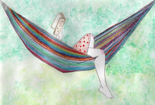reading in a hammock is…: At The Beaches, Girls Reading, Hammocks, Illustration, Holidays, Cool Drawings, Bookworm Life, Heavens, Photo Art