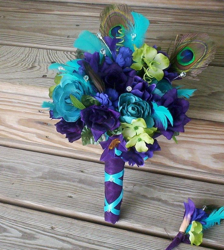 Beach wedding flowers Peacock Wedding accessories Bridal Bouquet Package brides maids boutonnieres 2013 Trends Destination weddings. $259.00, via Etsy.