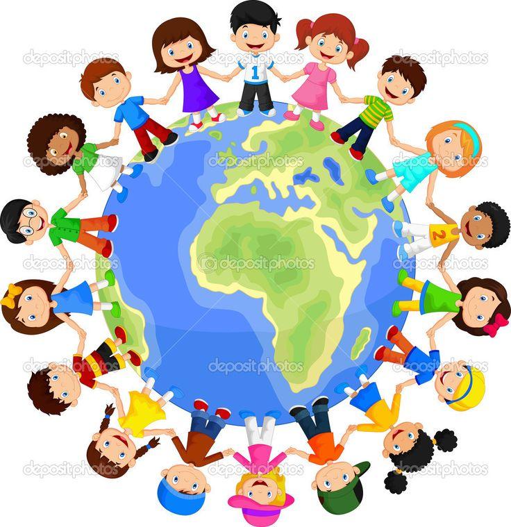 dünya çocukları renkli ektörel kalıpları - Google Search