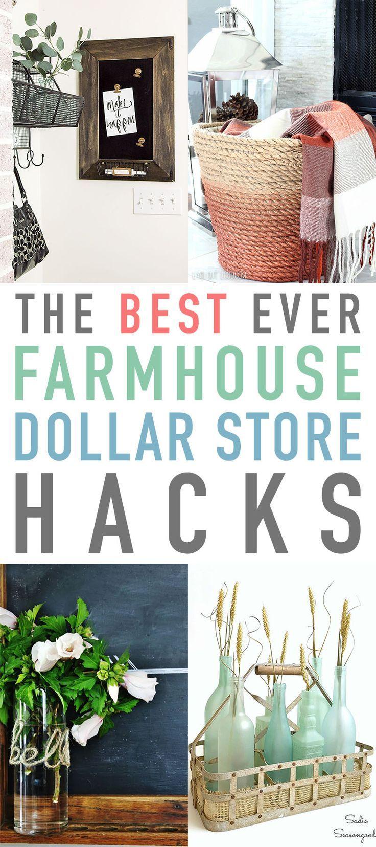 The Best Ever Farmhouse Dollar Store Hacks – #Doll…