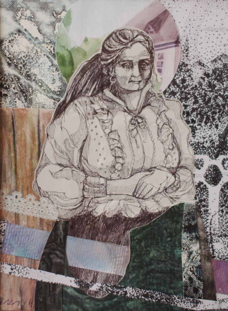"Art collage by Satu Laaninen ""Local"" ballpoint pen, acrylics, ripped integlio print and so on..."