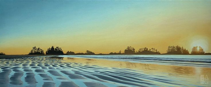 "Ron Parker - Long Beach Evening - oil on canvas - 20"" x 48"" (framed)"