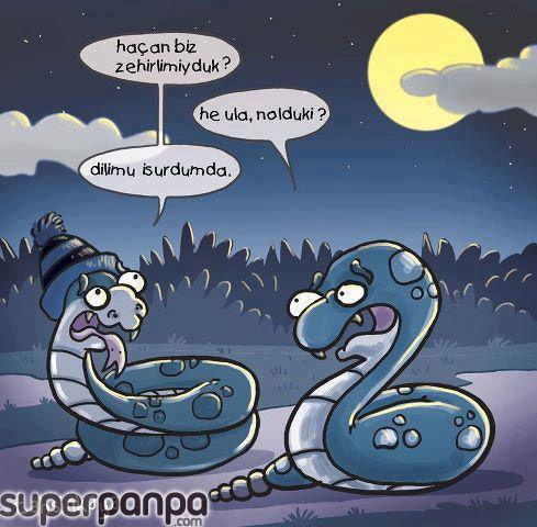 - Haçan biz zehirlimiyduk?  + He ula, nolduki?  - Dilimu isurdum da...  #karikatür #mizah
