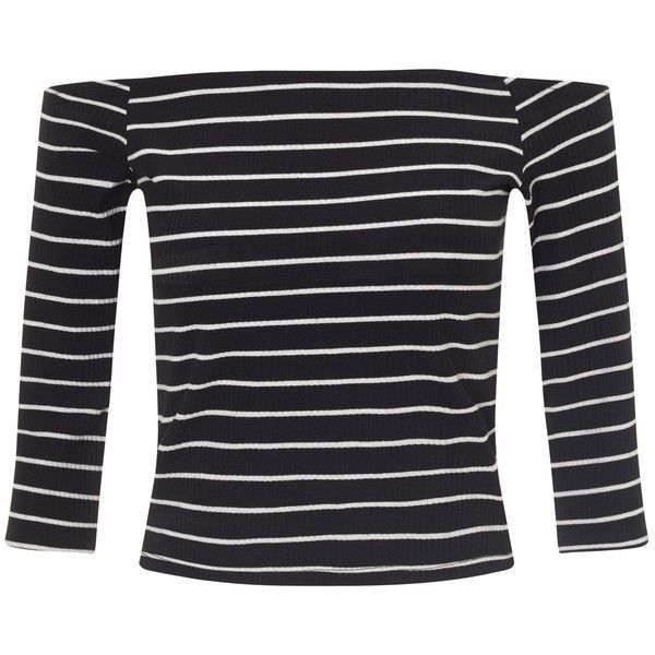 Miss Selfridge Petites Striped Bardot Top, Black ($13) ❤ liked on Polyvore featuring tops, petite, petite tops, nautical tops, nautical striped top, 3/4 length sleeve tops and 3/4 sleeve tops