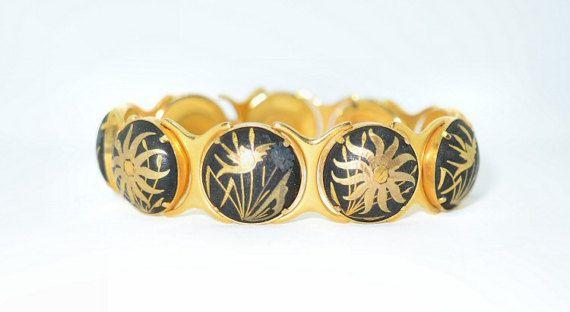Vintage Damascene Bracelet 24k and Silver Inlay Floral & Cattail Design