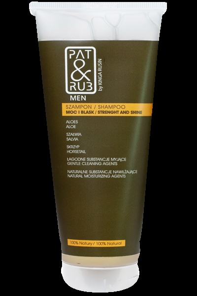 Hair Shampoo PAT & RUB Men. Restores natural balance of the scalp, strenghtens the hair. Contains organic, strenghtening herbal complex. 100% eco-certified ingredients