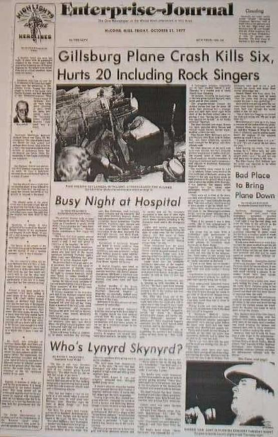 Lynyrd Skynyrd Plane Crash on October 20, 1977. Details & Informaton