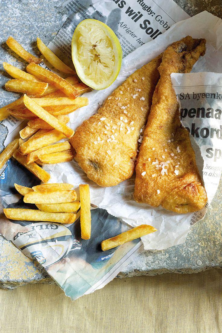 Gebakte vis, Dis seker een van die bekendste Engelse kroeggeregte. Die vis word in baie olie gebraai-tipies soos dit in pubs gedoen word. Sit voor met aartappelskyfies- koop joune sommer bevrore.