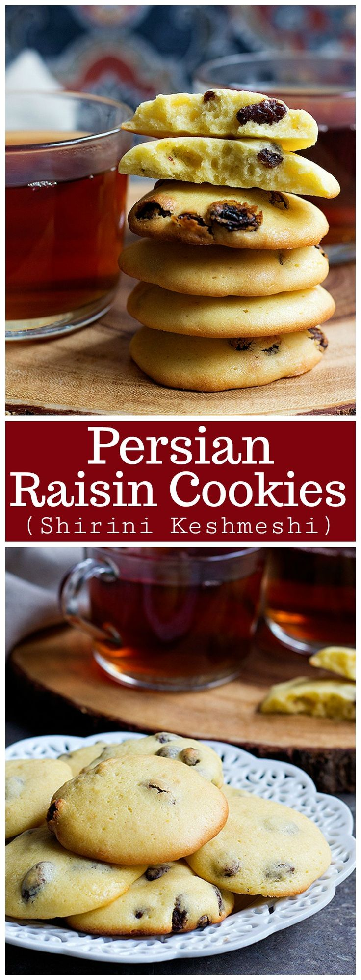 Persian Raisin Cookies (Shirini Keshmeshi) - These delicious and delicate cookies are perfect for the Persian New Year or any other time of the year. They're crunchy on the edges and soft in the center, perfect for a snack or dessert.