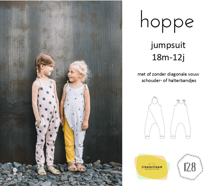 Hoppe is a jumpsuit pattern for knit fabrics. It comes in two main versions: one with, and one without a front pleat. In addition, you can choose between different strap options, and choose to incl…