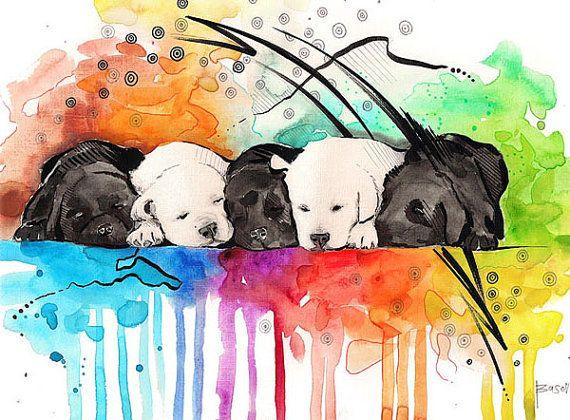 Custom Pet Portrait _ Watercolor painting van BasovaArt op Etsy