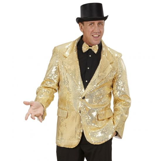 Gouden glitter colbert  Colbert pailletten goud voor heren. Deze luxe glitter colbert met gouden pailletten heeft twee zakken en is gemaakt van katoen en polyester. Deze gouden glitter colbert maakt uw feest outfit compleet!  EUR 89.95  Meer informatie