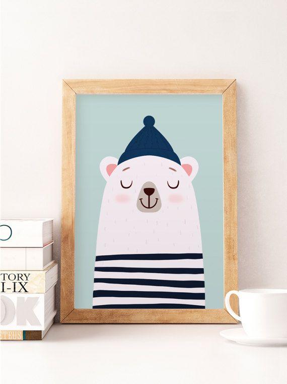 Bear print, White bear, Nursery poster, Kids wall art, Cute art, Kids room prints, Pastel colors, Baby nursery decor, Kids illustration