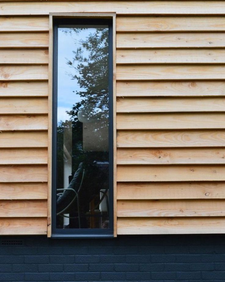WANT : Combination Between Modern Timber Cladding, Dark Painted Brick And  Glazing.