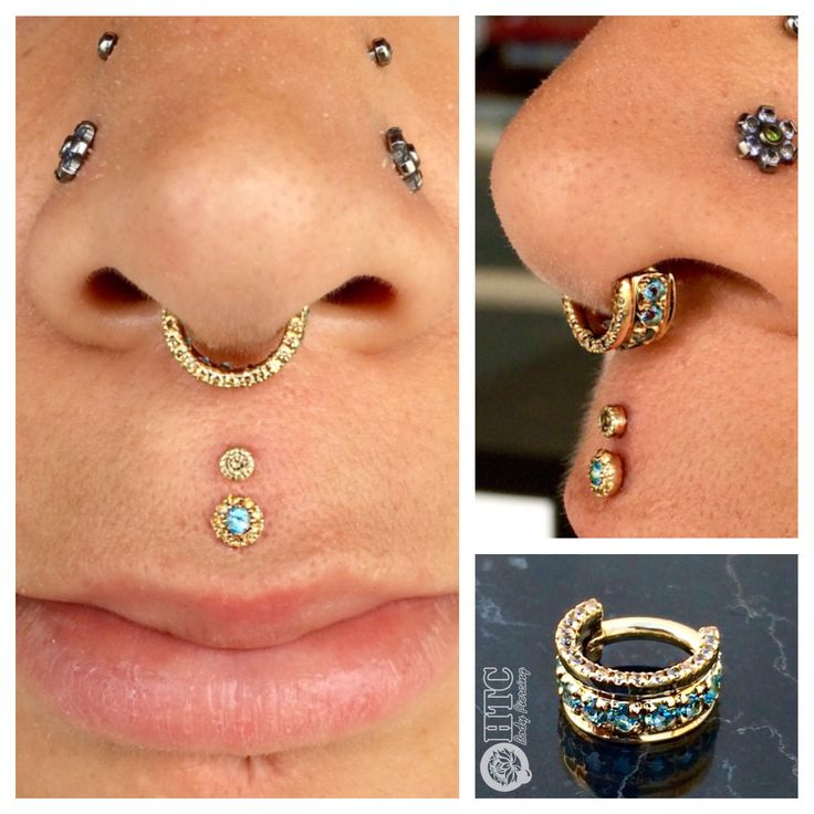 Double Philtrum with Yellow Gold London Blue Topaz and Champagne CZ's from BVLA.