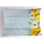 Yellow Flower Pillow Sham Seasonal Garden Flowers on Blue Wooden Planks Rustic Arrangement Print, Decorative Standard Size Printed Pillowcase, 26 X 20 Inches, Yellow Pale Blue, by Ambesonne
