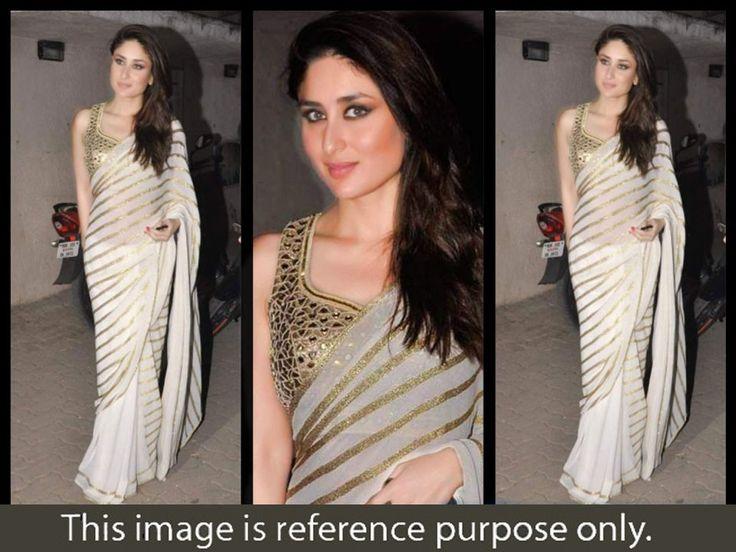 Kareena Kapoor Georgette Stripe Print Cream Bollywood Style Saree - 503