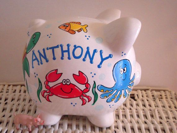 Personalized Hand Painted Piggy Bank With Under by thepaintedpiggy, $30.00