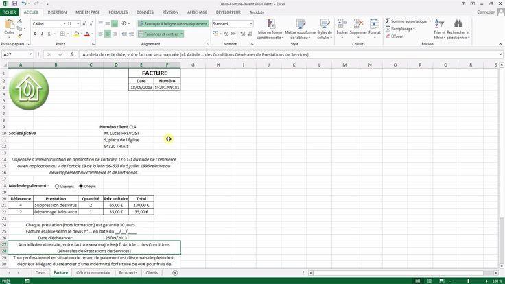 Tutoriel vidéo pour apprendre à créer un devis et une facture avec Excel. Comment utiliser les formules concaténer, recherchev, somme et multiplication ? Comment créer une liste déroulante qui recherche des données automatiquement ?  Pour lire ce tutoriel en version texte, rendez-vous sur Votre Assistante : http://www.votreassistante.net/creer-devis-facture-avec-excel
