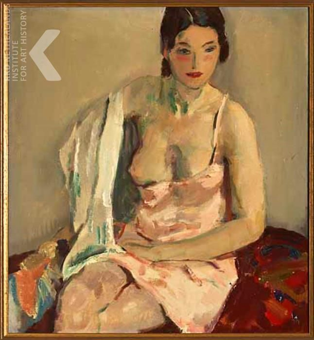 Jan Sluijters (Dutch, 1881-1957) - Seated female figure in light pink negligee, 1930