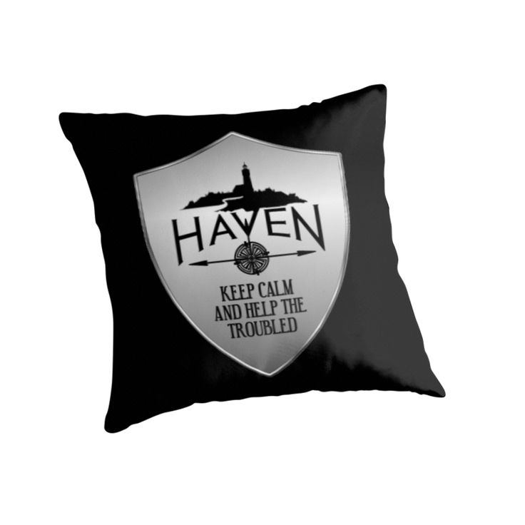 Haven Syfy Inspired Pillow | Haven Keep Calm Silver Badge Logo