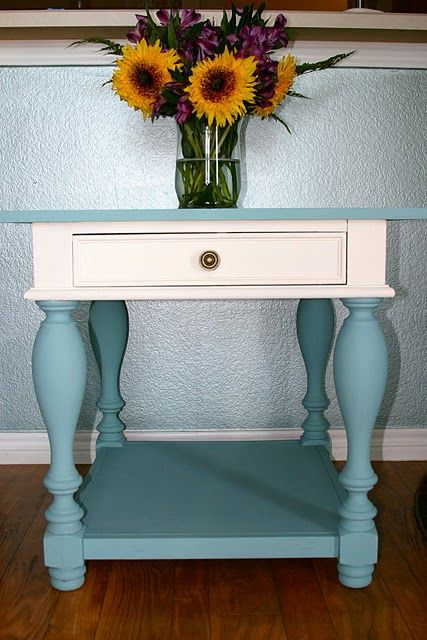 Gorgeous two tone chalk paint table