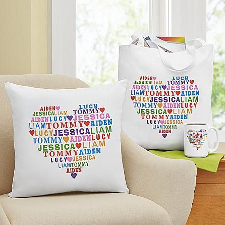Brighten Mom's or Grandma's house with a cheerful pillow that features the names of all their loved ones.  An affordable and cute gift that they'll love!