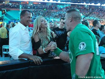 A-Rod attended WrestleMania 28 with girlfriend Torrie Wilson, and it's fair to say dating a former WWE Diva has its perks. Following a VIP backstage visit, Rodriguez and his girlfriend settled into ringside seats for the pay-per-view event in Miami.  They also met WWE Superstar John Cena.