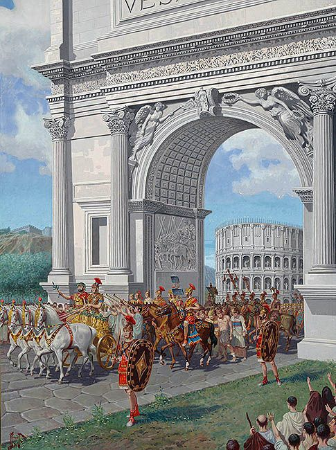 """""""Roman soldiers lead chained captives"""", H.M. Herget  Part of a Triumph was to display important captives as well as advertising the slaves that would be placed on the block."""