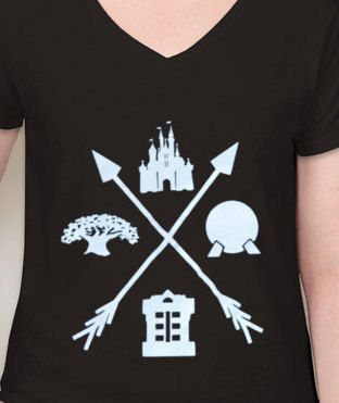 Walt Disney World All Four (4) Parks T-Shirt with Arrows | Cinderella's Castle | Spaceship Earth | Tower of Terror | Tree of Life