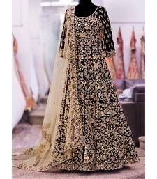 Buy Black embroidered art silk semistitched salwar with dupatta anarkali-salwar-kameez online