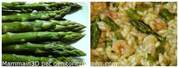 Risotto agli asparagi e gamberetti - Menu verde e rosa per Genitoricrescono http://genitoricrescono.com/menu-verde-e-rosa-per-mettere-daccordo-tutti/