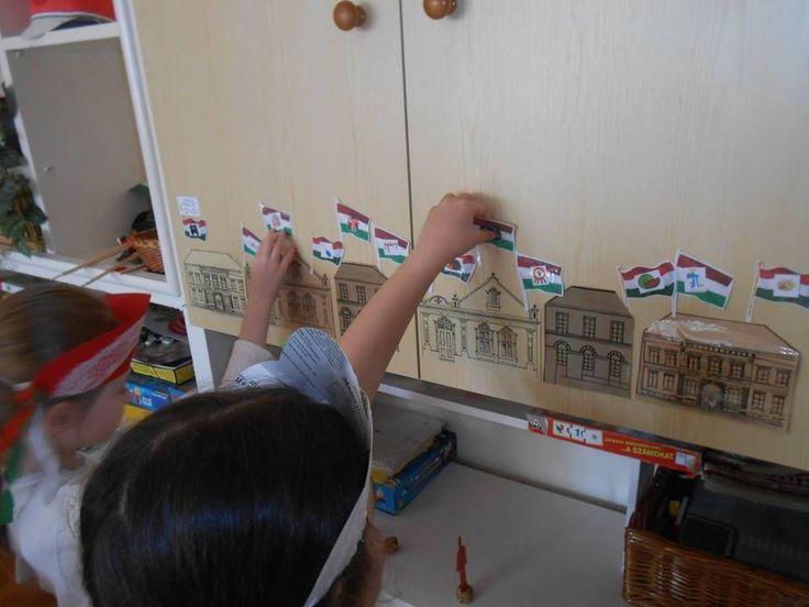 """Anyanyelvi játék: Házak díszítése zászlókkal Hívóképek ( """"t""""- """"d"""" ) segítségével hangfelismerés, hangdifferenciálás"""