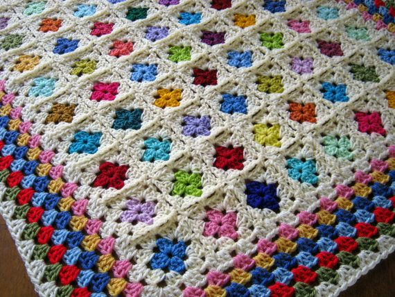 I love the look and colors. Tiny Little Small GRANNY SQUARES Baby Toddler by Thesunroomuk