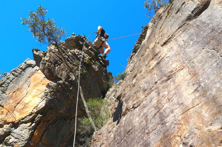 Abseiling down a 20m rock face in the Grampians. Full write up on AdventureMe. #abseiling #grampians